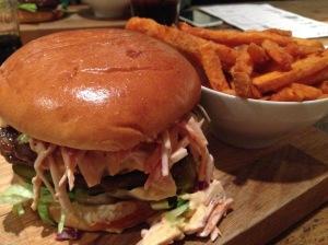 5 Boroughs Burger & Sweet Potato Fries